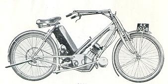 Патентный чертеж на первую раму Scott в 1908 году (двигатель был запатентован в 1904 году).